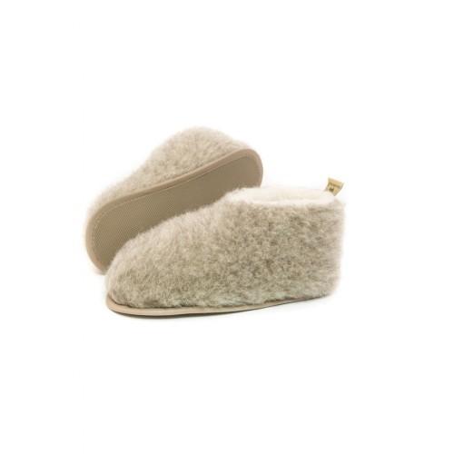 Тапочки из 100% овечьей шерсти белые Skiper Hard