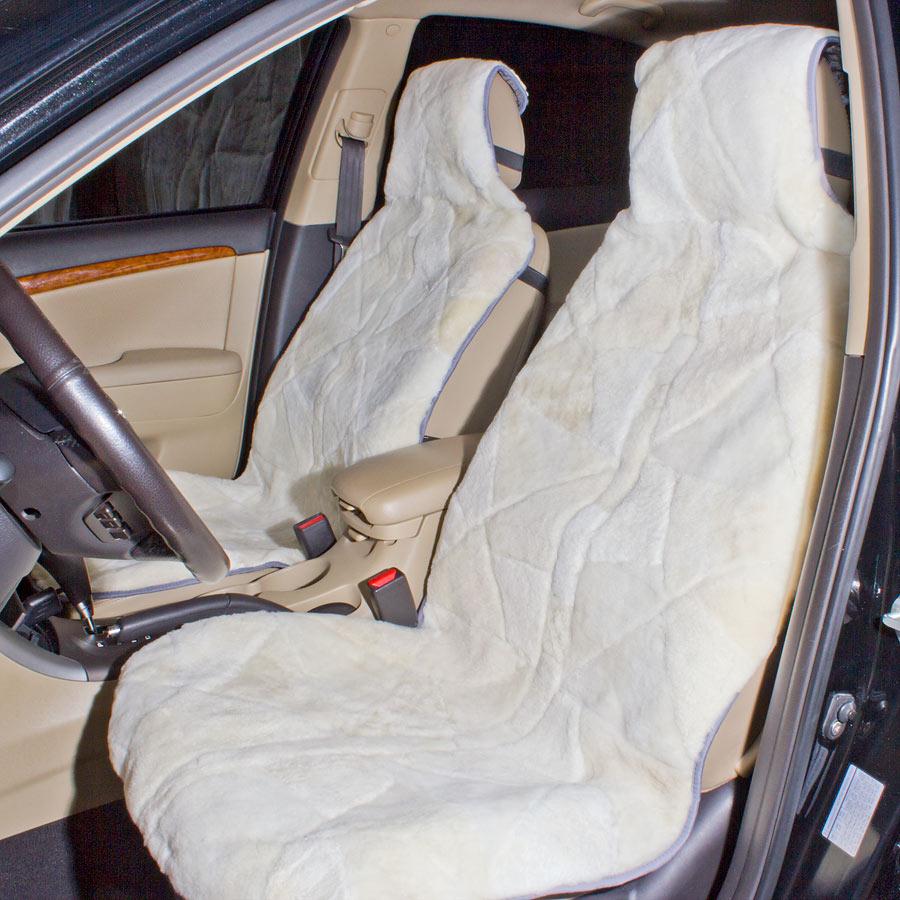 Накидка на  авто сиденье А 527 из кусков меха 145 х 60 см