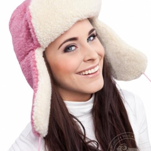 Сибирская шапка SIBERIAN WOOL, розовая