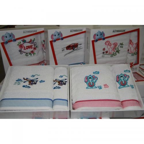 Детские полотенца с вышивкой Altinbasak Motorsiklet хлопок 50x80 и 70x120