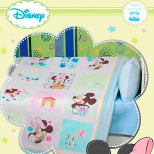 Детское одеяло Disney Baby Микки в клетку 105х140см летнее 100 г/м2