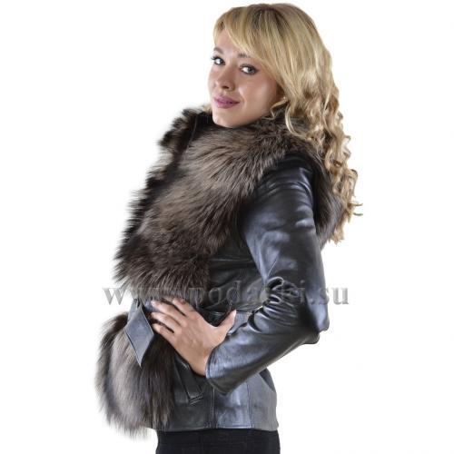 Куртка чернобурка и кожа
