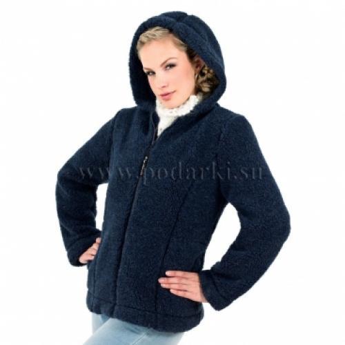 """Куртка из овечьей шерсти """"Барбара"""", темно-синяя"""