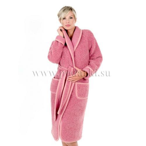 Халат женский из шерсти, розовый