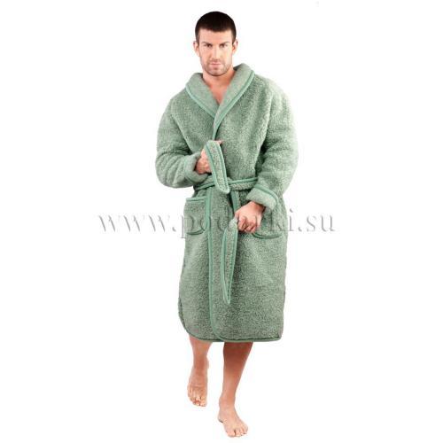 Халат из овечьей шерсти, зелёный