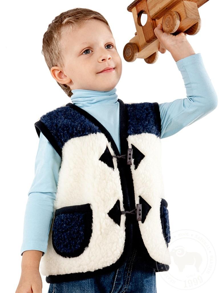 Жилет детский Юниор, из овечьей шерсти, на пуговицах белый-синий