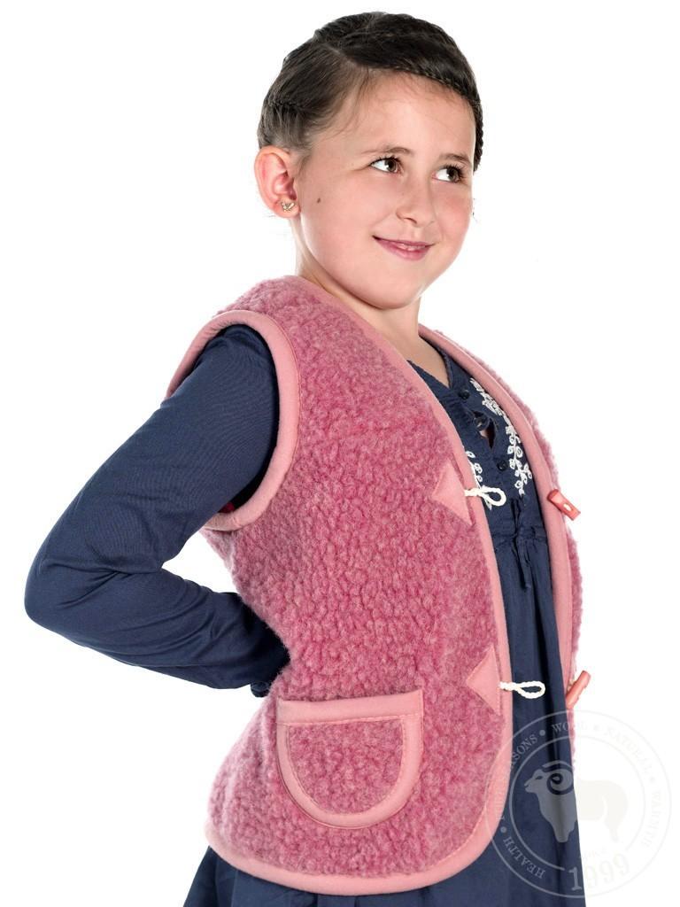 Жилет детский Юниор, из овечьей шерсти, на пуговицах розовый
