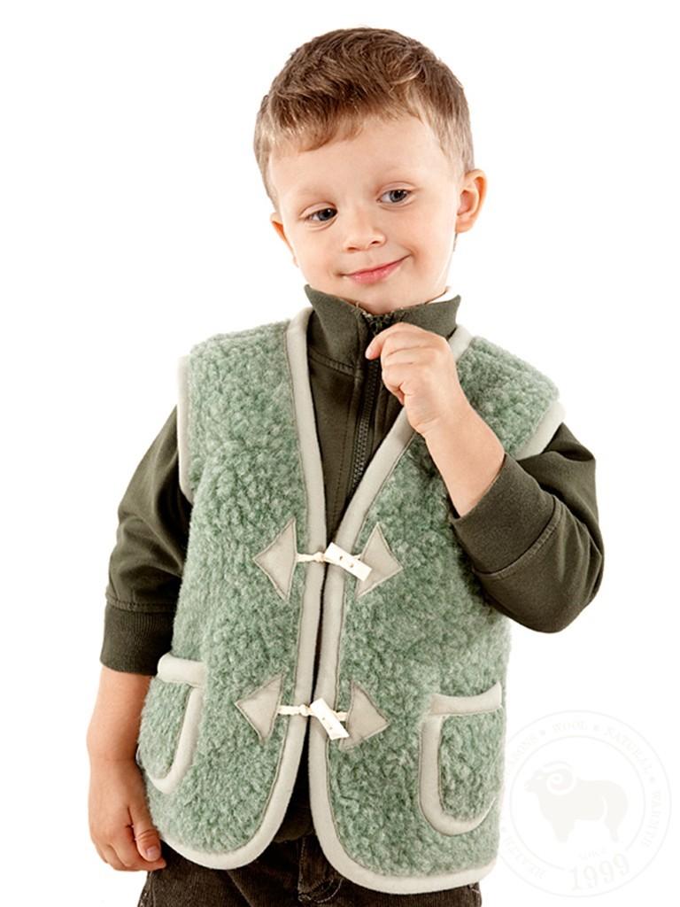 Жилет детский Юниор, из овечьей шерсти, на пуговицах зелёный
