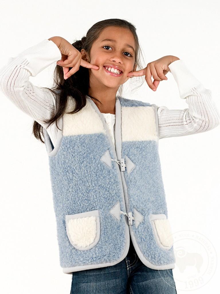 Жилет детский Юниор, из овечьей шерсти, на пуговицах голубой-белый