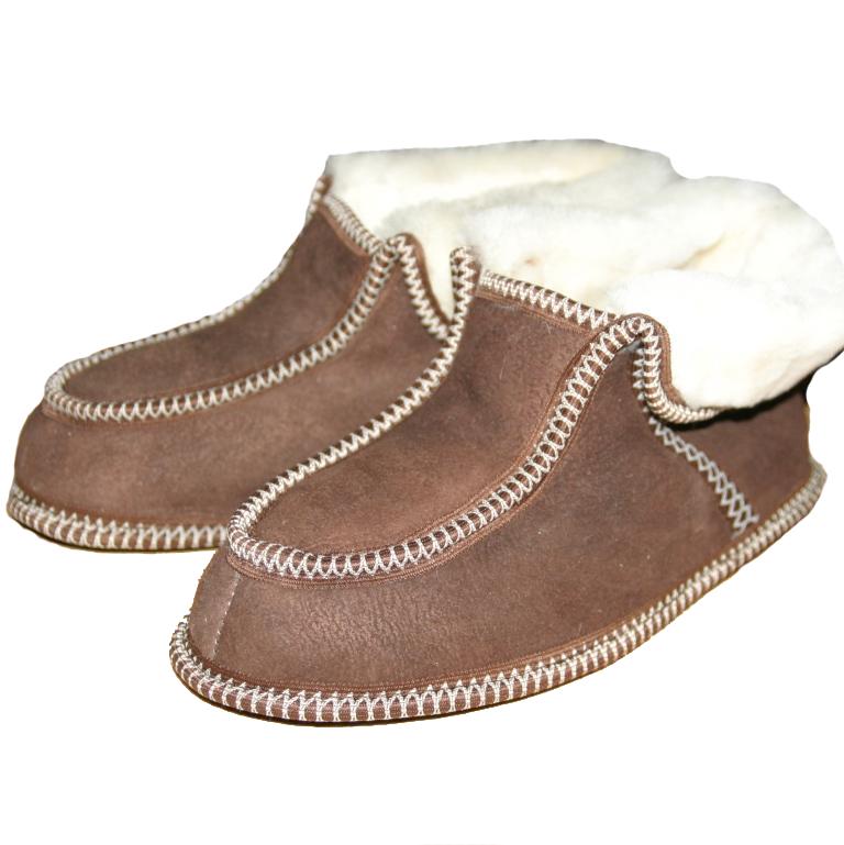 Тапочки из овчины Чуни, коричневые