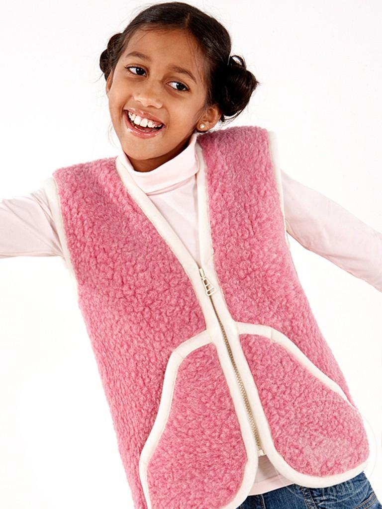 Жилет детский Карпаты, из овечьей шерсти, розовый