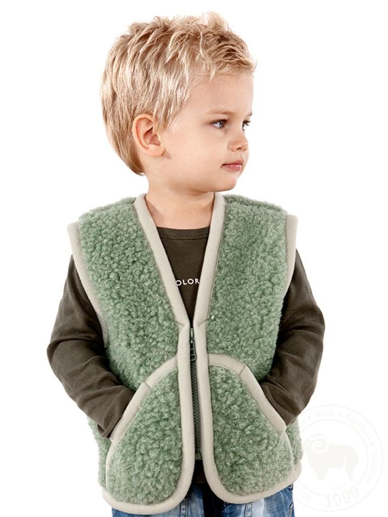 Жилет детский Карпаты, из овечьей шерсти, зелёный